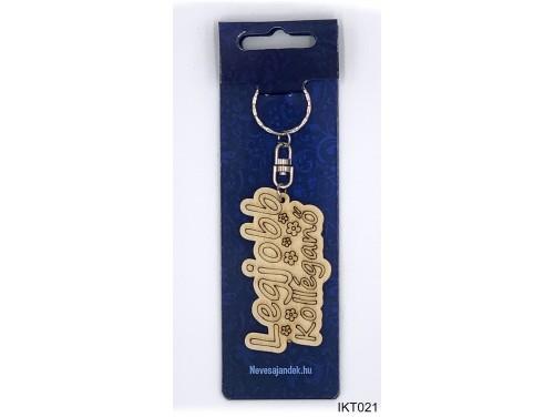 (IKT021) Gravírozott Fa Kulcstartó 4 cm x 7 cm - Legjobb kolléganő – Ajándék Kolléganőknek