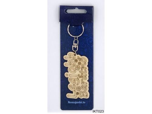 (IKT023) Gravírozott Fa Kulcstartó 4 cm x 7 cm - Legjobb barátnő – Ajándék barátnőknek