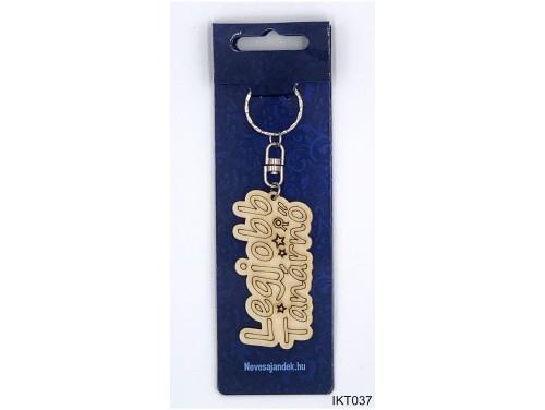 (IKT037) Gravírozott Fa Kulcstartó 4 cm x 7 cm - Legjobb Tanárnő – Ajándék Pedagógusoknak