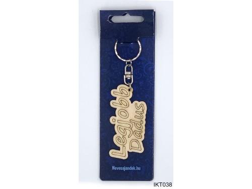 (IKT038) Gravírozott Fa Kulcstartó 4 cm x 7 cm - Legjobb Dadus – Ajándék Dadáknak