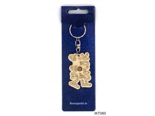(IKT060) Gravírozott Fa Kulcstartó 4 cm x 7 cm - Apa a Főnök – Ajándék Apáknak