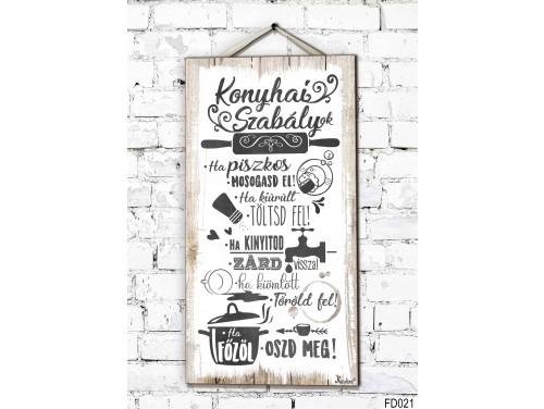 (FD021) Fali Dekor Tábla 46,5 cm x 25 cm x 0,5 cm - Konyhai szabályok - Ajándék ötlet