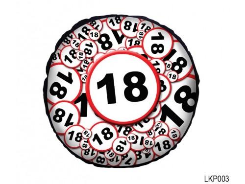 (LKP003) Kör Párna 25 cm - Boldog 18. Születésnapot - Születésnapi ajándék