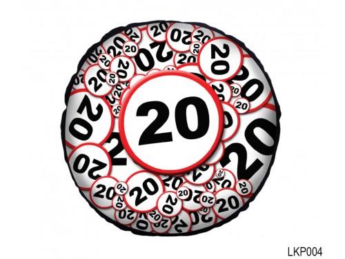 (LKP004) Kör Párna 25 cm - Boldog 20. Születésnapot - Születésnapi ajándék
