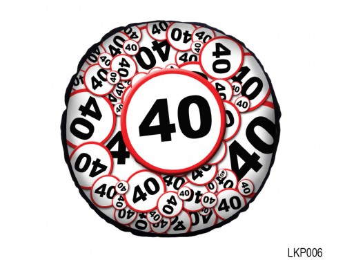 (LKP006) Kör Párna 25 cm - Boldog 40. Születésnapot - Születésnapi ajándék