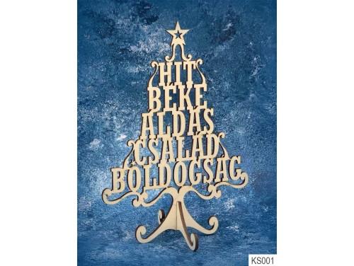 (KS001) Dekor Karácsonyfa 21cm x 15 cm - Hit Béke – Karácsonyi asztali dekoróció