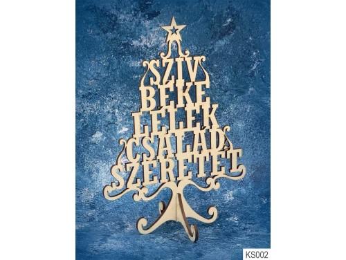 (KS002) Dekor Karácsonyfa 21cm x 15 cm - Szív Béke – Karácsonyi asztali dekoróció