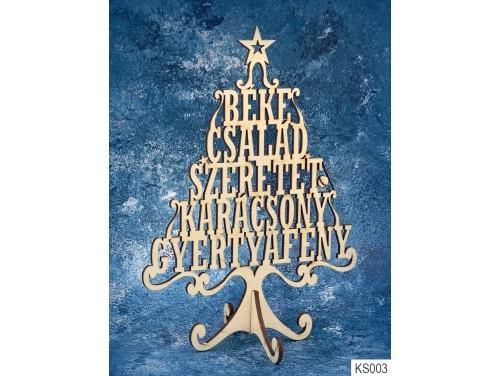 (KS003) Dekor Karácsonyfa 21cm x 15 cm - Béke Család – Karácsonyi asztali dekoróció