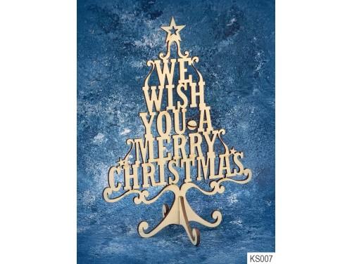 (KS007) Dekor Karácsonyfa 21cm x 15 cm - We wish You – Karácsonyi asztali dekoróció