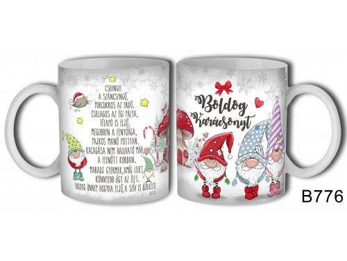 (B776) Bögre 3 dl - Boldog karácsonyt gnómok - Karácsonyi ajándékok