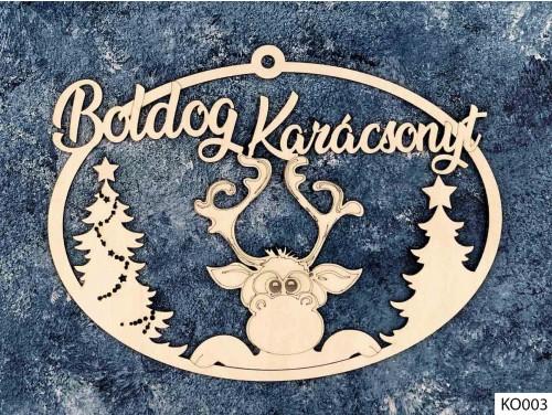 (KO003) Ajtódísz 18 cm x 25,5 cm - Rudolf Rénszarvas - Karácsonyi Ajtó Dekoráció Fából