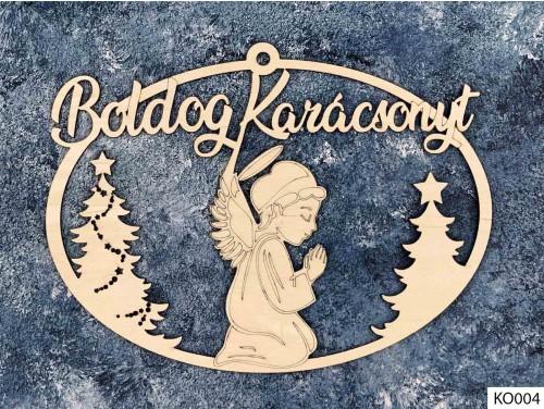 (KO004) Ajtódísz 18 cm x 25,5 cm - Angyalos - Karácsonyi Ajtó Dekoráció Fából