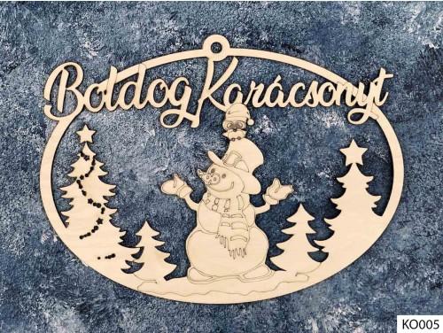 (KO005) Ajtódísz 18 cm x 25,5 cm - Hóember - Karácsonyi Ajtó Dekoráció Fából