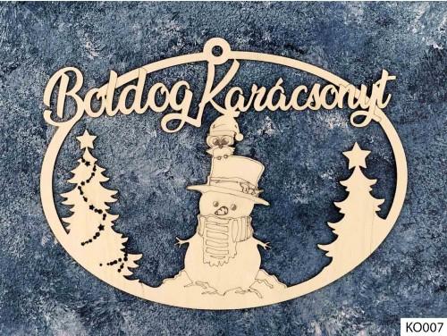 (KO007) Ajtódísz 18 cm x 25,5 cm - Hóember madárkával - Karácsonyi Ajtó Dekoráció Fából