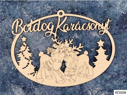 (KO008) Ajtódísz 18 cm x 25,5 cm - Szarvasok - Karácsonyi Ajtó Dekoráció Fából
