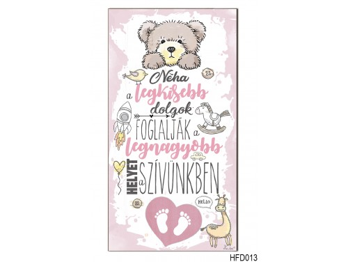 (HFD013) Hűtőmágnes Fa Dekor Tábla 7,5 cm x 14cm - A legkisebb dolgok, lány - Ajándék babalátogatóba