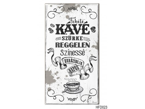 (HFD023) Hűtőmágnes Fa Dekor Tábla 7,5 cm x 14cm - Fekete Kávé - Kávés ajándékok