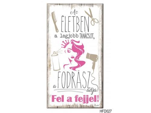 (HFD027) Hűtőmágnes Fa Dekor Tábla 7,5 cm x 14cm - Fodrász - Ajándék Fodrászoknak