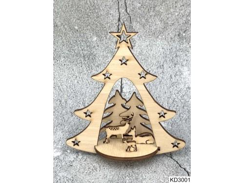 (KD3001) 3D Karácsonyfa dísz - Karácsonyfa szarvasokkal – Karácsonyi ajándékok