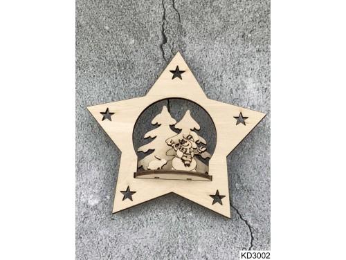 (KD3002) 3D Karácsonyfa dísz - Csillag Hóember Nyuszi – Karácsonyi ajándékok