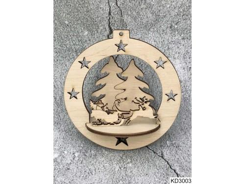 (KD3003) 3D Karácsonyfa dísz - Gömb Mikulás szánon – Karácsonyi ajándékok