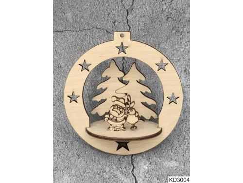 (KD3004) 3D Karácsonyfa dísz - Gömb Mikulás és szarvas – Karácsonyi ajándékok