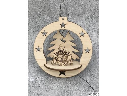 (KD3005) 3D Karácsonyfa dísz - Gömb szarvasokkal – Karácsonyi ajándékok