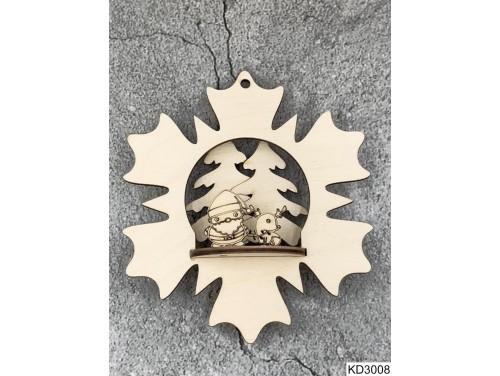 (KD3008) 3D Karácsonyfa dísz - Virágban Mikulás és szarvas – Karácsonyi ajándékok