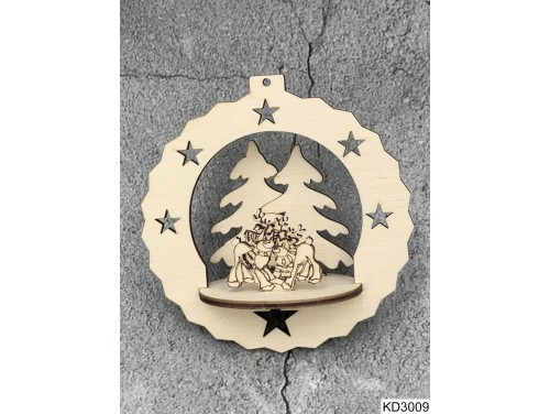 (KD3009) 3D Karácsonyfa dísz - Szarvasok – Karácsonyi ajándékok