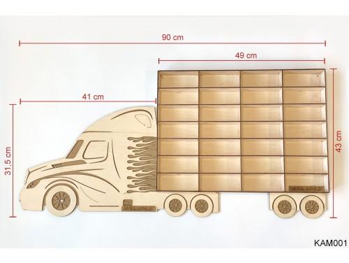 (KAM001) Natur Kamion egy pótkocsival - Kisautó Tároló Kamion - Ajándék gyerekeknek