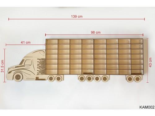 (KAM002) Natur Kamion 2 pótkocsival - Kisautó Tároló Kamion - Ajándék gyerekeknek