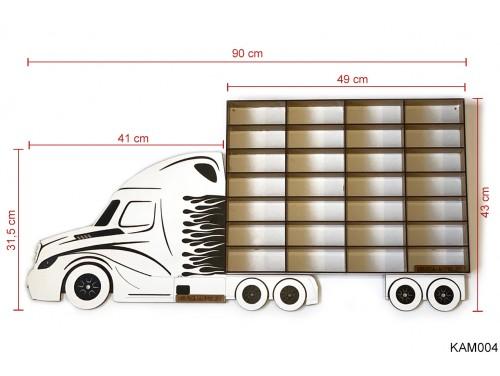 (KAM004) Fehér Kamion egy pótkocsival - Kisautó Tároló Kamion - Ajándék gyerekeknek