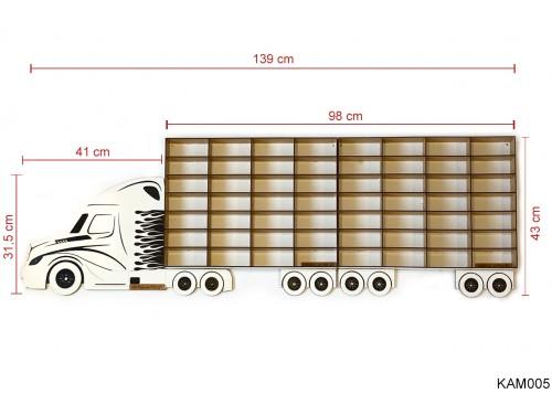 (KAM005) Fehér Kamion 2 pótkocsival - Kisautó Tároló Kamion - Ajándék gyerekeknek