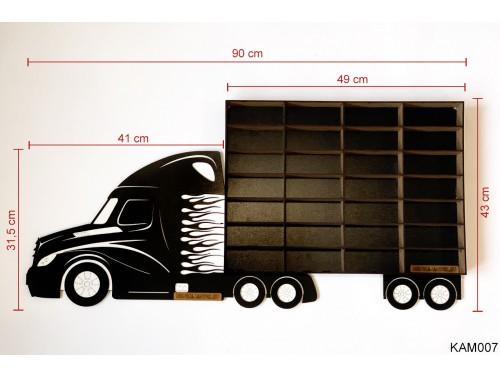 (KAM007) Fekete Kamion egy pótkocsival - Kisautó Tároló Kamion - Ajándék gyerekeknek