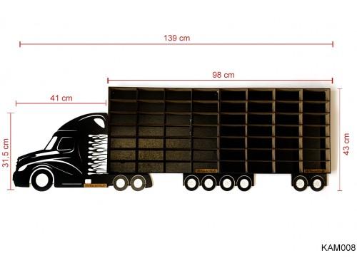 (KAM008) Fekete Kamion 2 pótkocsival - Kisautó Tároló Kamion - Ajándék gyerekeknek