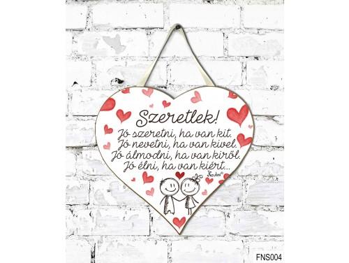 (FNS004) Kicsi Fali Dekor Szív Tábla 19,5 cm x 18,5 cm - Jó szeretni