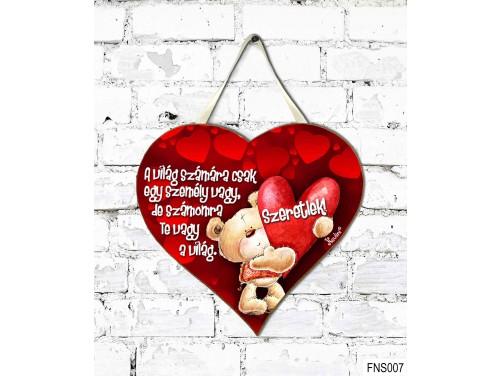 (FNS007) Kicsi Fali Dekor Szív Tábla 19,5 cm x 18,5 cm - A Világ számára