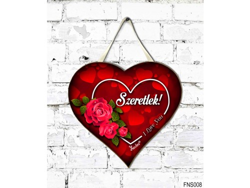 (FNS008) Kicsi Fali Dekor Szív Tábla 19,5 cm x 18,5 cm - Szeretlek - I love you