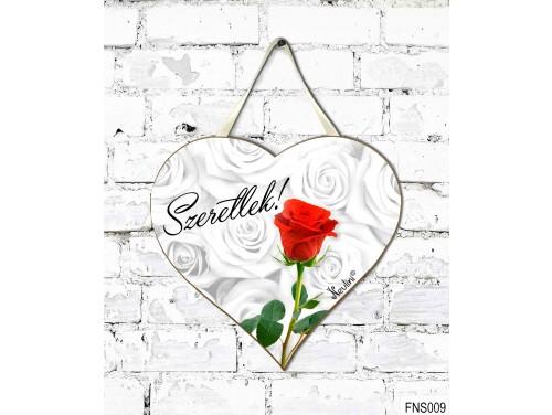 (FNS009) Kicsi Fali Dekor Szív Tábla 19,5 cm x 18,5 cm - Szeretlek Rózsa szál