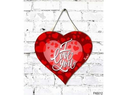 (FNS012) Kicsi Fali Dekor Szív Tábla 19,5 cm x 18,5 cm - I Love You