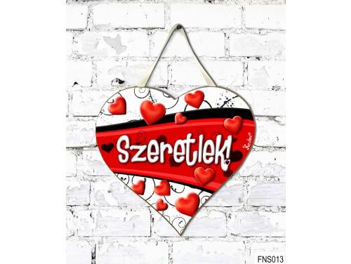 (FNS013) Kicsi Fali Dekor Szív Tábla 19,5 cm x 18,5 cm - Szeretlek Szív hullám