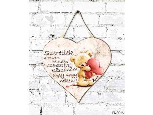 (FNS015) Kicsi Fali Dekor Szív Tábla 19,5 cm x 18,5 cm - Szeretlek a szívem