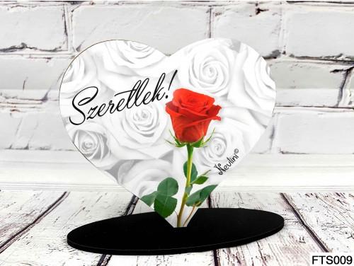 (FTS009) Szív Alakú Talpas Tábla 13,5 cm x 11,5 cm - Szeretlek Rózsa szál