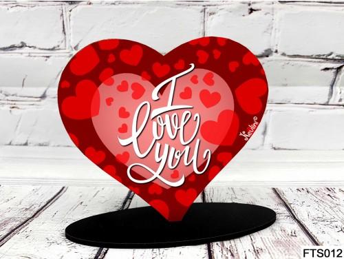 (FTS012) Szív Alakú Talpas Tábla 13,5 cm x 11,5 cm - I love you