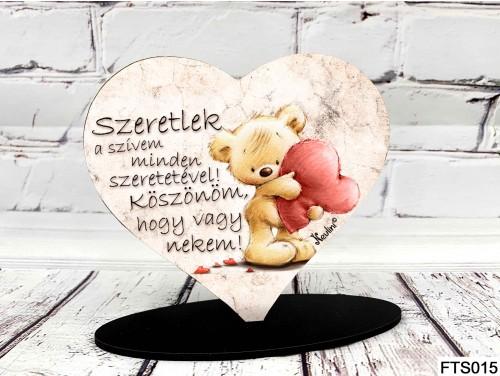 (FTS015) Szív Alakú Talpas Tábla 13,5 cm x 11,5 cm - Szeretlek a szívem minden