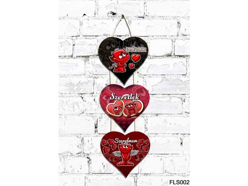 (FLS002) 3 Részes Dekor Szív Tábla 12,5x11,5 cm - Imádlak Ördögös