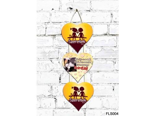 (FLS004) 3 Részes Dekor Szív Tábla 12,5x11,5 cm - Nehéz igaz szerelmet találni