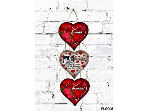 (FLS005) 3 Részes Dekor Szív Tábla 12,5x11,5 cm - Nem azért szeretlek
