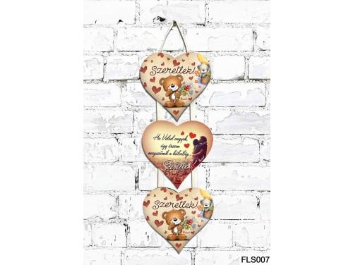 (FLS007) 3 Részes Dekor Szív Tábla 12,5x11,5 cm - Ha Veled vagyok