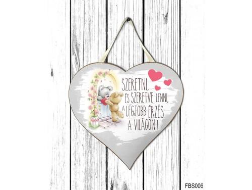 (FBS006) Nagy Fali Dekor Szív Tábla 27,5cm x 26,5 cm - Szeretni és szeretve lenni